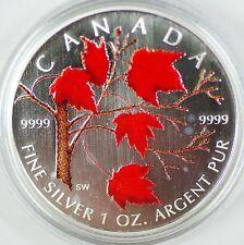 2004 Canada Silver Maple Leaf Coloured Coin 1oz .9999 w/ Box & COA