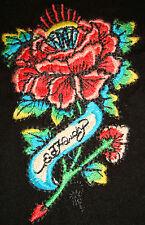 NEW ED HARDY WOMENS TATTOO T-SHIRT Black TEE Christian Audigier Embroidered Rose