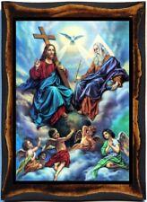 Holy Trinity (anthropomorphous) Handmeade Wood Icon on Plaque