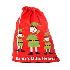 Cartoon Design Fun Felt Red Christmas Xmas Stocking / Sack - Elves