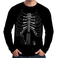Velocitee Mens Long Sleeve T Shirt Amped Up Music DJ Guitar Rock Band A15034