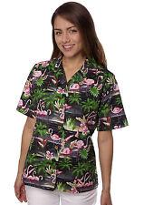 Benny's Womens Flamingos Hawaiian Shirt, Black