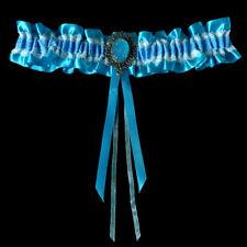 Jarretière mariage satin dentelle strass bleu azur et blanche