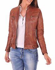 New Vintage Women Slim Fit Biker Motorcycle Soft Leather Zipper Jacket Coat