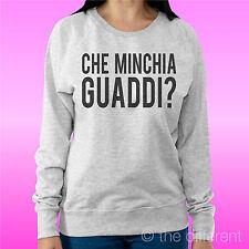 """FELPA DONNA LEGGERA SWEATER GRIGIO CHIARO """" CHE MINCHIA GUADDI SOLITI IDIOTI """""""