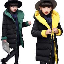 Kids Girls Winter Hooded Jacket Padded Warm Coat Thick Snowsuit Child Outwear