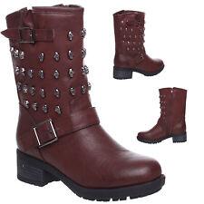 Womens Ladies Flat Low Heel Zip Up Block Heel Grip Skull Ankle Boots Shoes Size