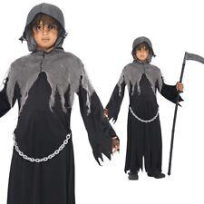 Kids Grim Reaper Costume Girls Boys Halloween Fancy Dress Outfit Smiffys 35987