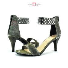 Open Toe Ankle Strap High Heel Zipper Rhinestone Sandal Delicious Krystal Pewter