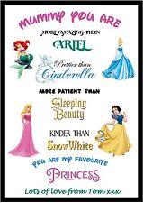 Mothers Day Gift Mum Mummy Nanny Auntie Disney Princess Personalised Birthday A4