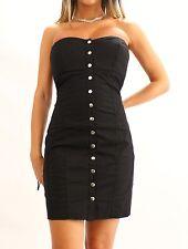 BEBE 2b Strapless Snap Button Summer Dress Cotton Small Black 4 6 NWT