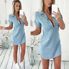 Fashion Women's Summer Short Sleeve Loose Denim Blouse Casual Tops T-Shirt Dress