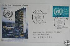 ENVELOPPE PREMIER JOUR - LUXEMBOURG NATIONS UNIES 1970