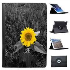 Bright Yellow Sunflower In Grey Fields Folio Leather Case For iPad Mini & Retina