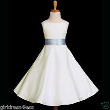 IVORY/SKY BLUE PARTY A-LINE BRIDESMAID FLOWER GIRL DRESS 12M 2 4 6 8 10 12 14 16