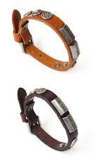 NEW Leather Stud Metal Buckle Bracelet Wristband Vintage Cuff Brown Tan