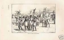 GRAVURE XIX BELGES  AFRIQUE DEPART DE CARTER  CADENHEAD