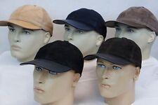 100% Lambskin Suede & Leather combo Baseball Cap Hat Biker Trucker 5 colors NEW