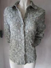 Cara - Moderno Blusa ajustable de encaje gris en TALLA 42/44. NUEVO