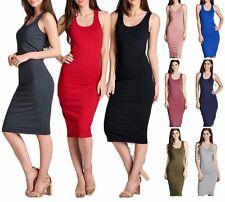Women Cami Long Tunic Midi Dress Sleeveless Tank Top Scoop Neck Solid S M L