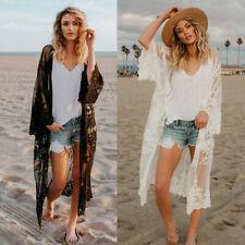 AU Womens Lace Chiffon Bohemian Casual Beach Long Sleeve Kimono Coat Blouse Tops