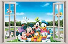 Adesivi Murali Finestra Effetto 3D Mickey Donald Disney decorazioni murali 56