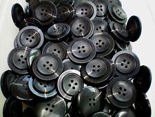 Large 28mm 44L Black & Dark Slate Grey Coat 4 Hole Craft Buttons Button (Q206) x