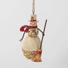 Jim Shore Christmas Ivory & Gold Snowman Hanging Ornament ~ 4027849