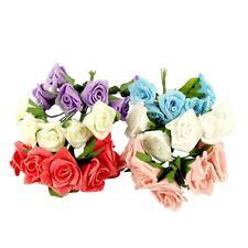 6 Small Glittered Foam Roses Artificial Mini Craft Card Bouquet Flowers Fake
