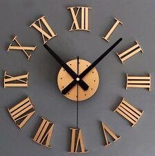DIY 3D Wall Clock Roman Numeral Metallic Mirror Stick On Clock Home Decor Gold