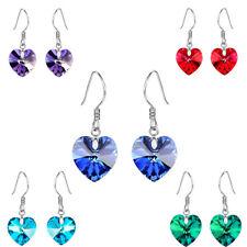 Red Blue Green Purple Romantic Hearts Drop Dangle Silver Plated Women Earrings