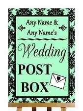 Mint Green Black Damask Post Box Personalised Wedding Sign