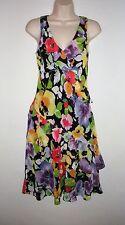 NWT MSRP $155  LAUREN RALPH LAUREN Women's Floral Ruffle Dress, Black Multicolor
