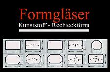 FORMGLAS für alte Armband-Uhren: Kunststoff - RECHTECKFORM - AUSWAHL Uhrengläser