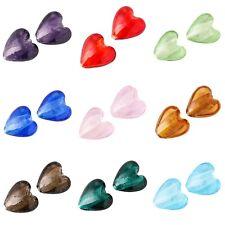 ❤ 10 x Silver Foil HEART Glass Lampwork Beads 12mm Choose Colours ❤