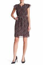 Nine West Poppy Red Printed Short Flutter Sleeve w/Pintuck Detail Chiffon Dress
