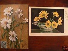 2 cpa illustrateur fleur marguerite vase signee  8