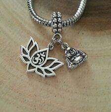 Buddha Head Ohm Lotus Flower 3D Hindu Charm Pendant F European Bracelet Necklace
