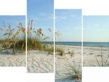 Sand Dunes British Seaside Beach Canvas Picture Wall Art Split Multi 4 Panel Set
