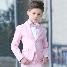 Kid's Bright Pink Suit 2 Piece One Button Blazer Wedding Proms Flower Boy Tuxedo