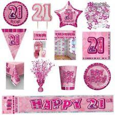 GLITZ ROSE 21st vaisselle de Fête Anniversaire Décoration plaques bandeaux