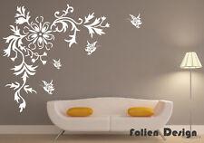 Wandtattoo wandfolie Schmetterlinge  Wallsticke Ranke Blumen Blumenranke  wpf51