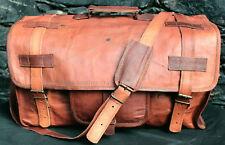 Vintage Brown Leather Unisex Duffel Bag Weekend Travel Gym Luggage Hold Bag