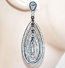 ORECCHINI NERI STRASS donna cristalli brillantini ovali pendenti eleganti F110