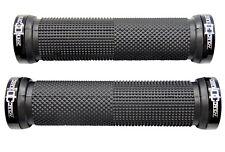 """CRANK CANDY"" Dual Knurl Vice Lock On BLACK Grip Bike Handle Bar Grips MTB XC DH"