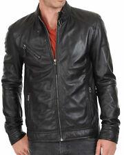 BRAND NEW 100% Leather Jacket Coat Slim Mens Outwear Black Biker Jacket SS4