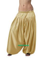 Light Gold Satin Harem Pant Belly Dance Pantaloons Bombachos Aladdin Halloween