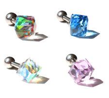 Cube Upper Ear | Cartilage | Tragus bar Stud Earring 16g