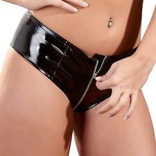 Damen Lack Zip Hot-Pants S M L XL schwarz Panty Slip Wetlook Glanz Black Level
