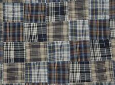 Three Chickadees Cotton Patchwork Madras Fabric by the Yard ~ Lake Maranacook